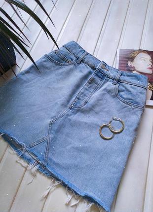 Джинсовая базовая юбка из светлого денима bershka vintage