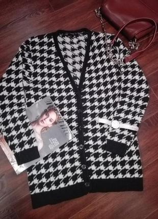 Кардиган жакет кофта пуловер вязаный с модным принтом на пуговицах forever 21