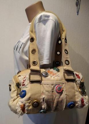 Стильная вместительная хлопковая сумка бежевая с оригинальными пробками