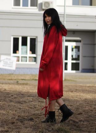 Утепленное платье худи