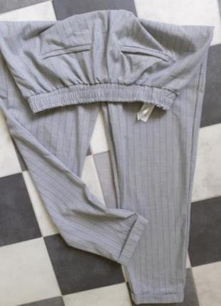Серый брюки джогеры джоггеры штаны в полоску от bershka