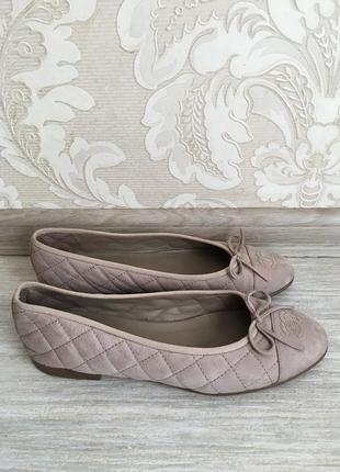 Chanel оригинал дизайнерские кожаные бежевые балетки туфли