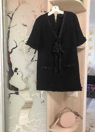 Твидовое  платье с шелковым бантом channel zara