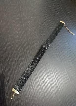 Ожерелье, чокер чорный с камушками