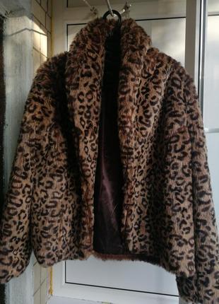 Шикарная шуба полушубок леопард животный принт