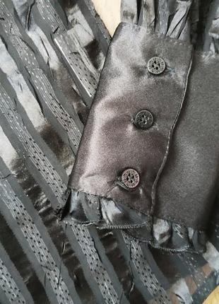 Шикарная черная полупрозрачная блуза рубашка mozaic воротник-стойка декольте капелька
