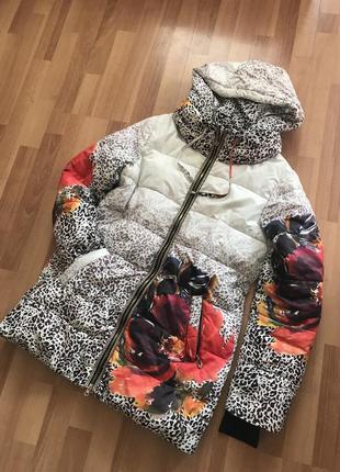 Пуховик пальто пуховик с капюшоном большой размер 50/52