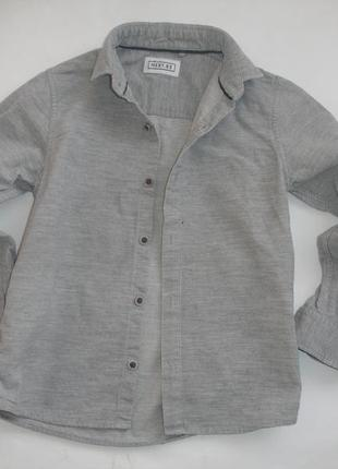 Фирмененая next рубашка микровельвет хлопок мальчику 6 лет