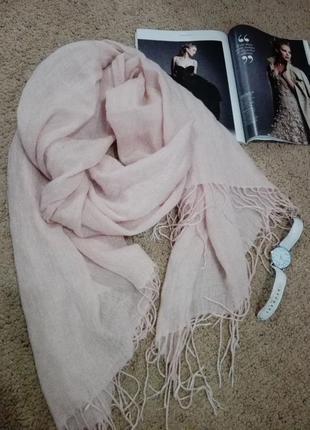 Отличный модный теплый палантин шарф воздушный персиковый