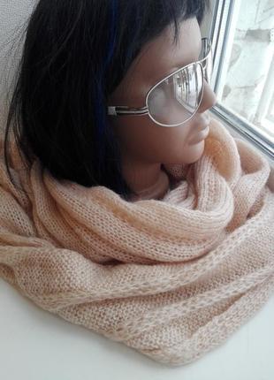 Отличный модный теплый снуд персиковый шерсть,мохер