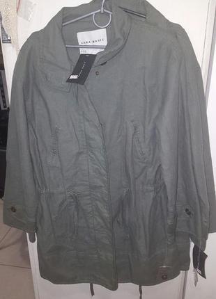 Крутая легкая куртка, парка zara в оверсайз стиле - лен и коттон - р-р с