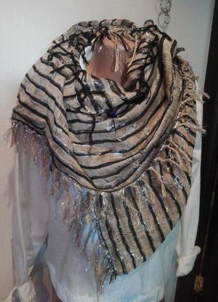 Крутой единственный в своем роде платок палантин шарф с люрексом