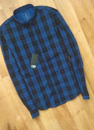 Новая с бирками мужская  рубашка сине-черная клетка s размер