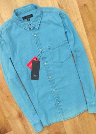 Новая с бирками мужская джинсовая рубашка smog, светло синего цвета, xl размер