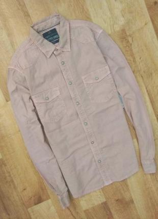 Новая с бирками мужская джинсовая рубашка светло розового цвета, m размер