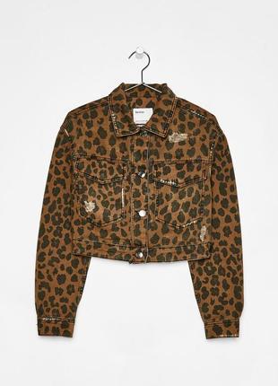 Тотальная распродажа! невероятно крутая джинсовая куртка с анималистичным принтом