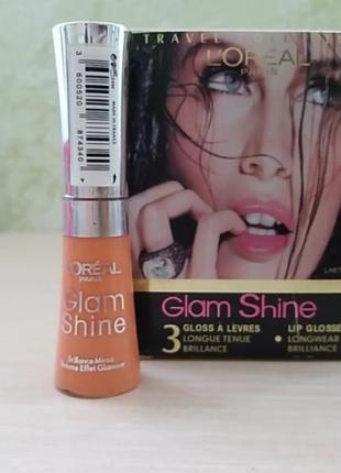 Шикарный блеск для губ l'oreal glam shine travel collection  тон 415