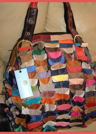 Большая невероятная кожаная сумка hobo - 100% натуральная разноцветная кожа – новая2