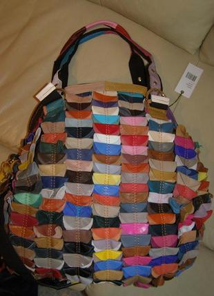 Большая невероятная кожаная сумка hobo - 100% натуральная разноцветная кожа – новая3
