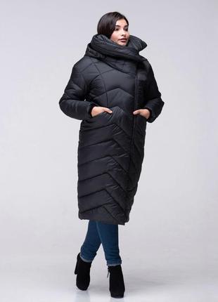 Зимнее длинное пальто кокон на силиконе, черное