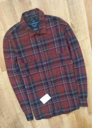 Новая с бирками, мужская  рубашка бордово черная   клетка м/lразмер