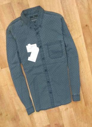 Новая с бирками мужская брендовая серо  цвета  рубашка, m, размеров.