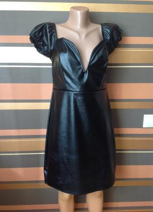Облегающее платье из искуственной кожи с лифом на косточках v- образным вырезом размер 18