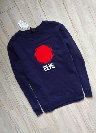Новый свитшот с бирками мужской брендовый  синий с иероглифом и солнцем  l размер