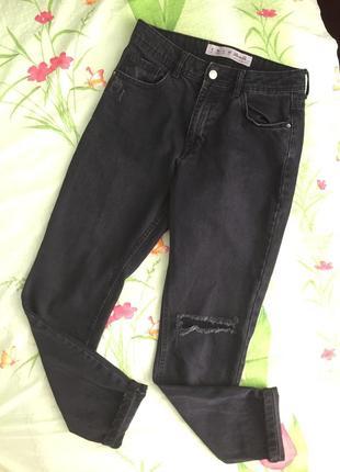 Чёрные джинсы бойфренды высокая посадка