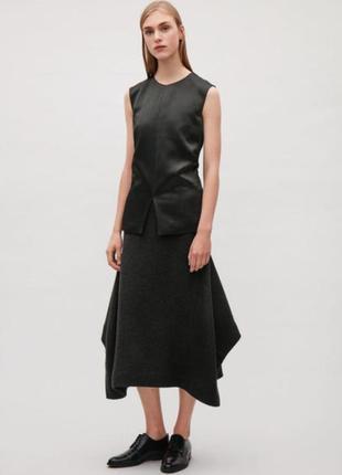 Cos юбка миди ассиметричная, втачные клинья, шерсть и хлопок