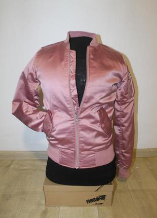 Бомбер пыльно-розовый атласный теплый. новый!