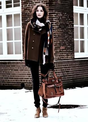 Брендовое коричневое шерстяное демисезонное пальто полупальто с поясом zara испания