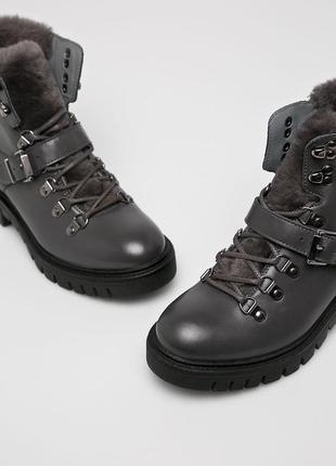 Как новые! серые стильные утеплённые ботинки натуральная кожа wojas {бесплатная доставка}