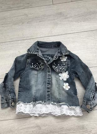 Джинсовка джинсовый пиджак на девочку 2 года 92