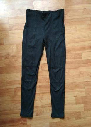 Шикарные базовые черные замшевые лосины, скины, штаны