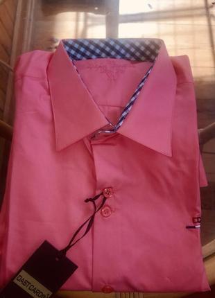 Мужская рубашка под запонки с накладными локтями