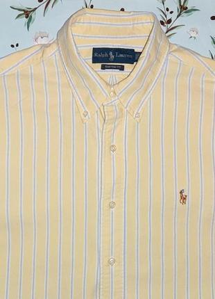 Фирменная плотная нежно желтая рубашка в полоску ralph lauren, размер 48 - 50