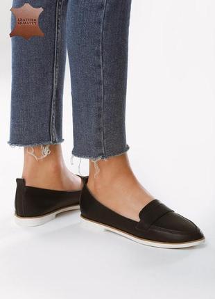Новые женские черные кожаные лоферы туфли
