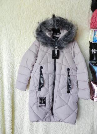 ✅ зимняя куртка пальто батал с мехом на капюшоне эко лиса чернобурка
