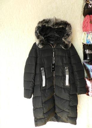 ✅ зимняя куртка пальто батал с мехом на капюшоне эко кролик