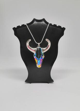 Кулон хрустальный коровий череп с рогами серебро 925 рога колье ожерелье