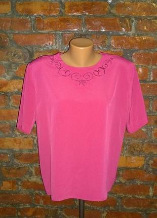 Блуза топ кофточка прямого кроя большого размера из мокрого шелка
