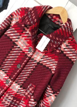 Роскошное пальто в винтажном стиле в клетку с шерстью zara woman2 фото