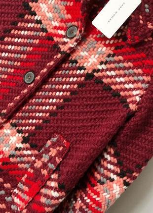 Роскошное пальто в винтажном стиле в клетку с шерстью zara woman3 фото