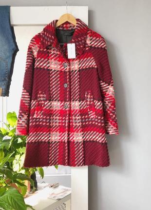 Роскошное пальто в винтажном стиле в клетку с шерстью zara woman1 фото
