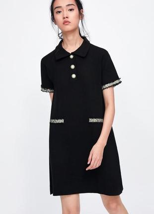 Платье с жемчужными пуговицами/твидом zara