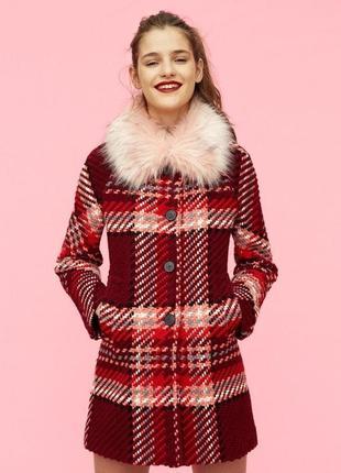 Роскошное пальто в винтажном стиле в клетку с шерстью zara woman6 фото