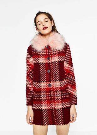 Роскошное пальто в винтажном стиле в клетку с шерстью zara woman7 фото