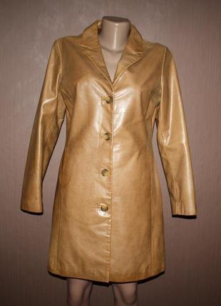 Актуальный винтажный кожаный плащ куртка