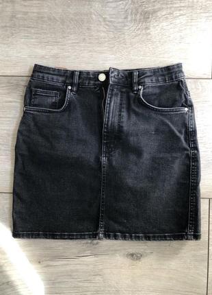 Чёрная джинсовая юбка zara denim серая м